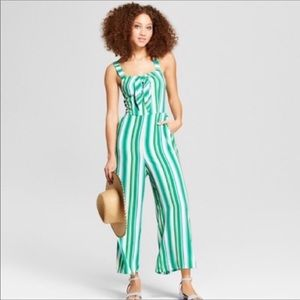 a new day striped jumpsuit NWOT